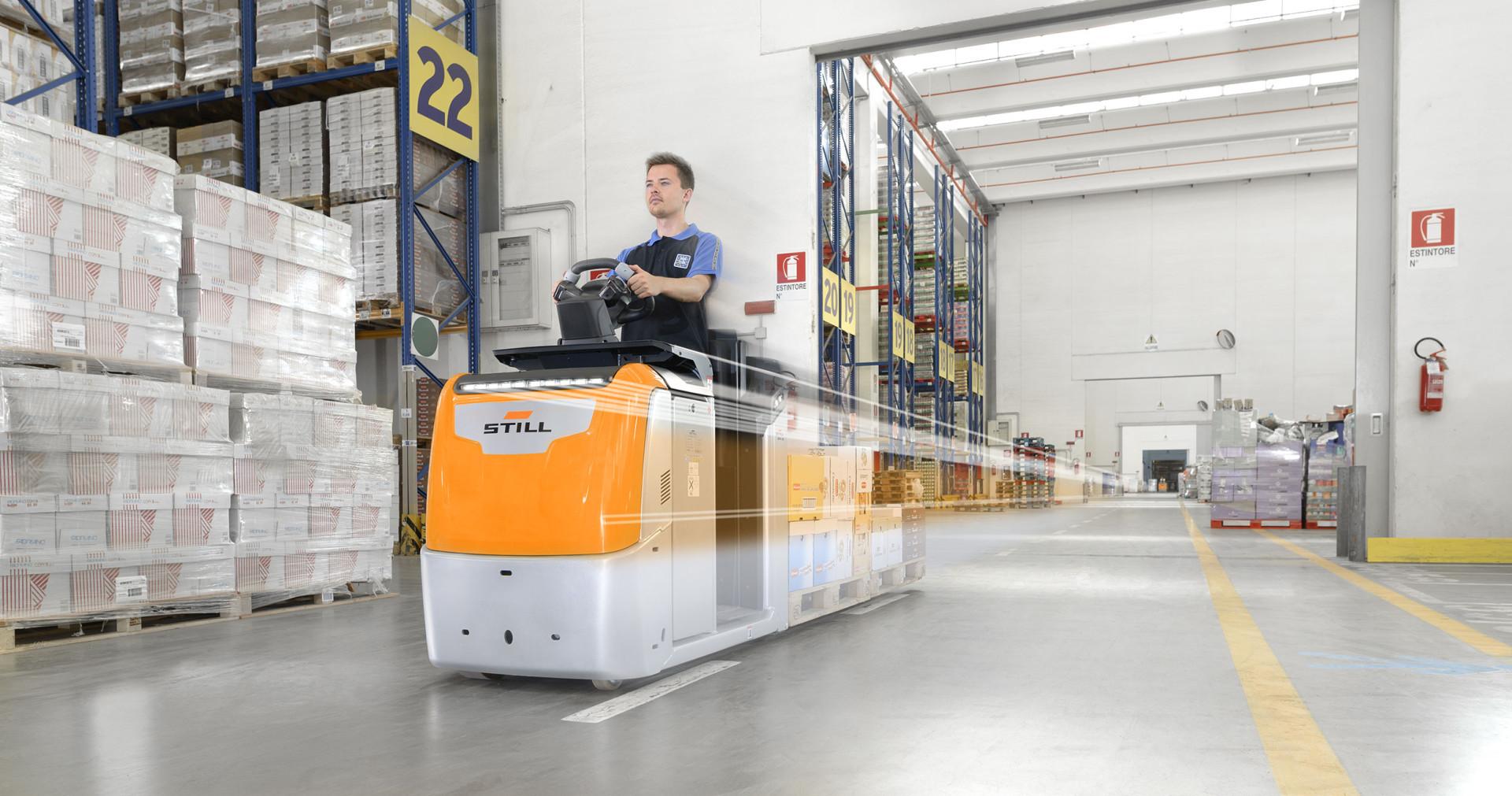 Vision générale entrepôt chariot et dynamique Eurospin