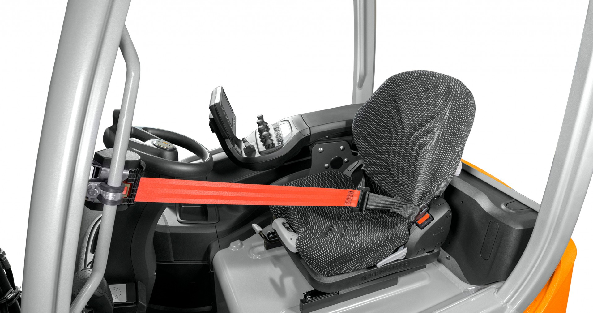 EasyBelt, systèmes de retenue opérateur avec la ceinture de sécurité déjà prétendue en diagonale au-dessus du siège conducteur