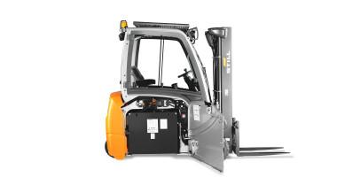 Chariot élévateur électrique RX 20 1,4 - 2,0 t - vision de côté avec porte de la batterie ouverte : flexibilité maximum chariot compatible avec différents types de batterie