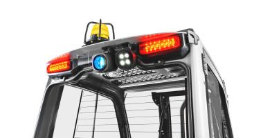 Chariot élévateur électrique RX 20 1,4 - 2,0 t - vision arrière du haut du chariot avec lumières allumés (STILL Safety Light 4Plus) + avertisseur lumineux